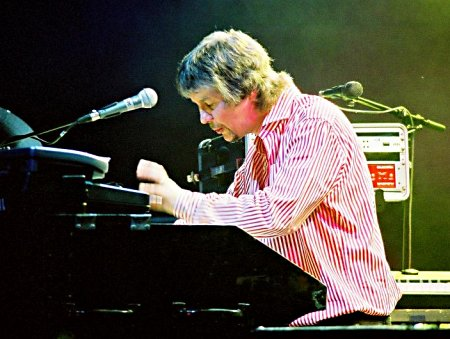 Don Airey, German Bananas tour, November 2003. Photo: Nick Soveiko.