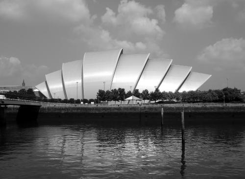 Clyde Auditorium, Glasgow, Scotland. Public domain photo.