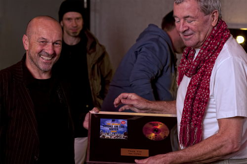 Ian Gillan receiving the SOTW world record commemorative award; Berlin, Jan 23 2011; photo courtesy of more-metal.com