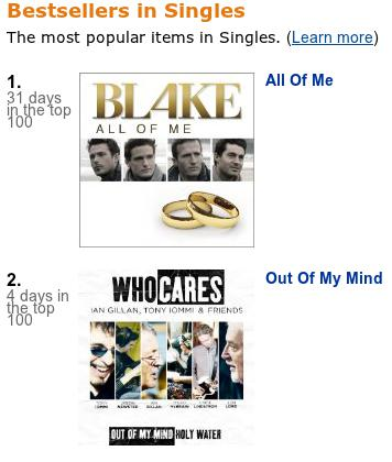 Amazon singles chart screenshot, taken Apr 16 2011 @ 09:30 EDT
