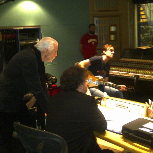 Paul Mann, Jon Lord and Joe Bonamassa in the studio, October 20, 2011; Photo Steve Balsamo