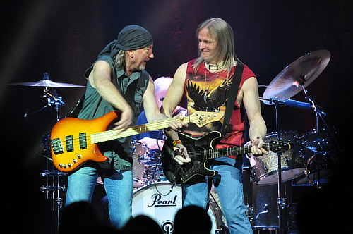 Roger Glover and Steve Morse share a joke; Toronto, Feb 12 2012; photo © Nick Soveiko cc-by-nc-sa