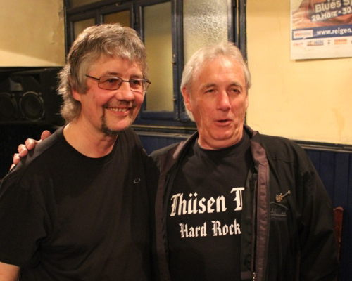 Nick Simper and Don Airey meeting together for the first time, Vienna, Austria, Sept 21 2012; image courtesy of Christian Shoen