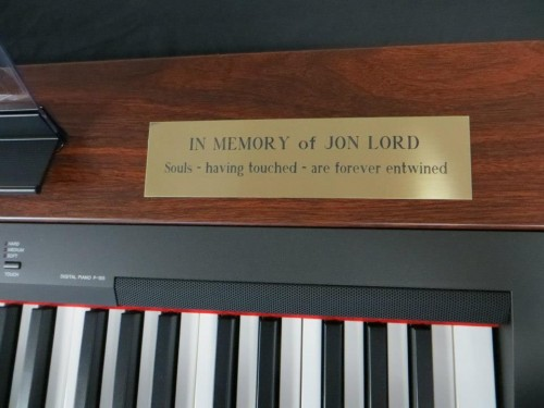 Memorial inscription in memory of Jon Lord on a donated keyboard