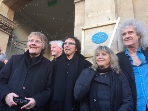 Don Airey, Neil Murray, Tony Iommi, Suzi Quatro, and Brian May at unveiling Cozy Powell memorial plaque; Cirencester, January 7, 2016