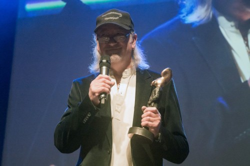 RG receiving The Man with the Golden Ear award in 2016; image courtesy of RogerGlover.com
