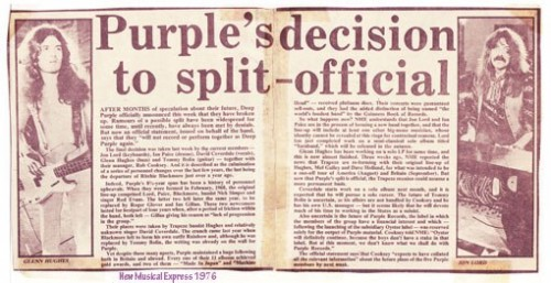 New Musical Express 1976 announcement of Purple splitting