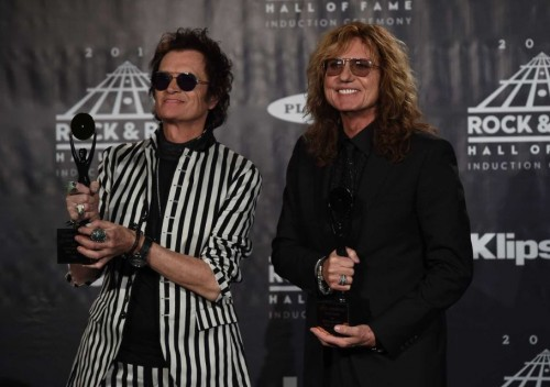 Glenn Hughes, David Coverdale at the RnR HoF induction, Barclays Center, NYC, April 8, 2016; photo: Timothy Clay