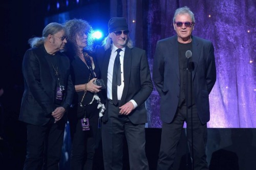 Ian Paice, Vicky Lord, Roger Glover and Ian Gillan at the RnR HoF induction, Barklays Center, NYC, April 8, 2016; photo: Theo Wargo