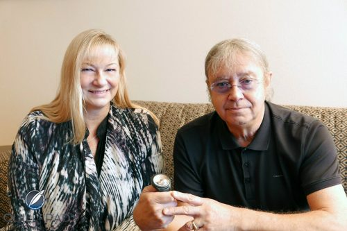 Ian Paice with interviewer Elizabeth Doerr; image courtesy of Quill & Pad