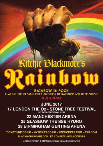 Rainbow UK 2017 tour flyer