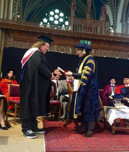 Bernie marsden received his honourary degree from University of Buckingham
