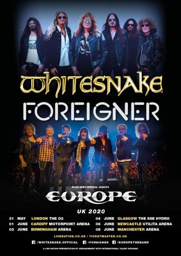 Whitesnake + Foreigner UK 2020 poster