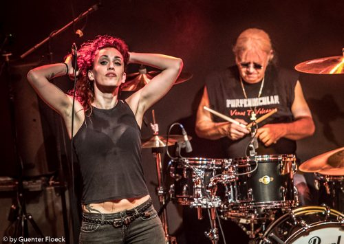 Alteria of Strange Kind of Women live on stage with Ian Paice