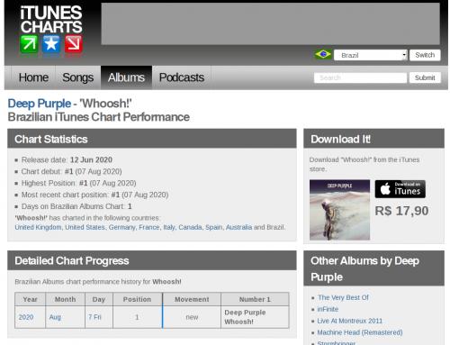iTunesCharts net 'Whoosh ' by Deep Purple (Brazilian Albums iTunes Chart)