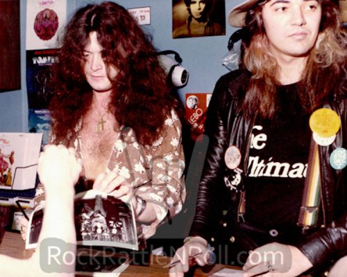 Glenn Hughes and Tommy Bolin at a record store signing event, Dallas, TX, 1976.
